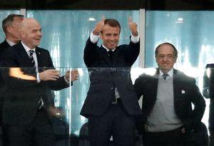 عکس/ شادی پس از گل رئیس جمهور فرانسه