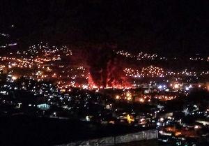 نمای دور از صحنه انفجار تانکر حمل سوخت