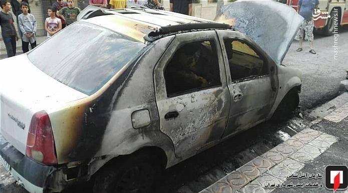آتش گرفتن ناگهانی خودروی رنو ال ۹۰ +عکس