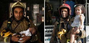 عکس/ نجات کودکان و نوزادان از دل آتش برج 21 طبقه تهران