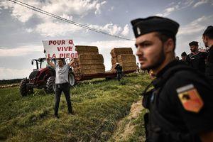 عکس/حمله پلیس فرانسه به کشاورزان معترض