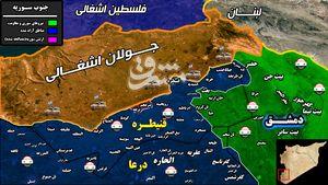 آخرین تحولات میدانی جنوب سوریه/ چند تروریست تحت فرمان « ماجد الخطیب» در شمال غرب استان قنیطره حضور دارند؟ + نقشه میدانی