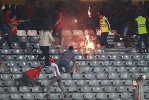 آتش سوزی هواداران تراکتور