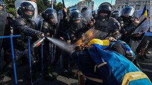 خشونت در تظاهرات ضد دولتی در رومانی
