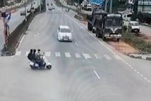 فیلم/ موتورسواری سه تَرکه به سمت مرگ!