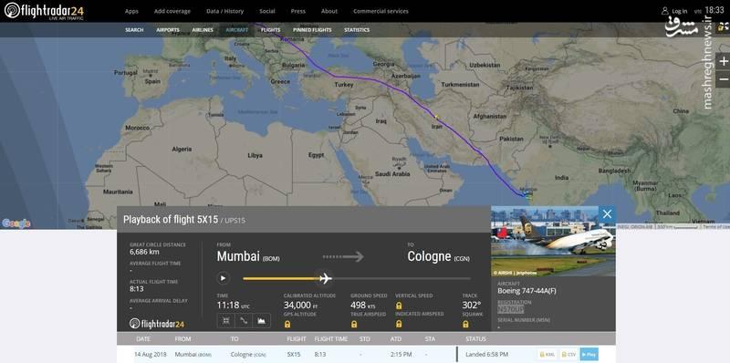 عبور هواپیماهای آمریکایی از آسمان ایران با مجوز سازمان هواپیمایی +سند