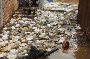 عکس/ شنا در استخر زباله