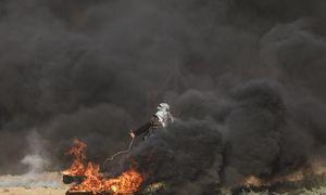 مبارزه دختر فلسطینی در میان دود و آتش