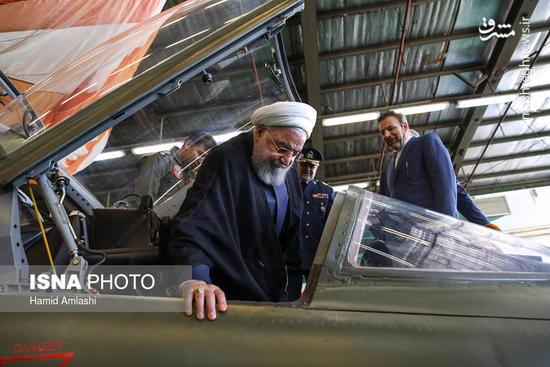 عکس/ رونمایی از اولین جنگنده ایرانی با حضور روحانی