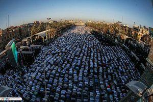 تصویری زیبا از صفوف نماز عید قربان در بین الحرمین