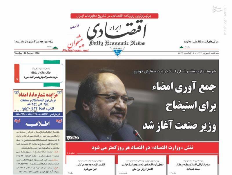 ابرار اقتصادی: جمع آوری امضاء برای استیضاح وزیر صنعت اغاز شد