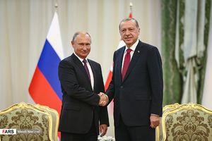 عکس/ دیدار پوتین و اردوغان پش از آغاز نشست