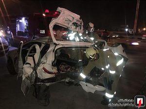 عکس/ تصادف زنجیرهای 4 خودرو در بزرگراه کرج