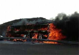 تصادف اتوبوس با تانکر سوخت