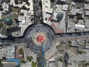 تصویر هوایی از نماز ظهر عاشورا در زنجان