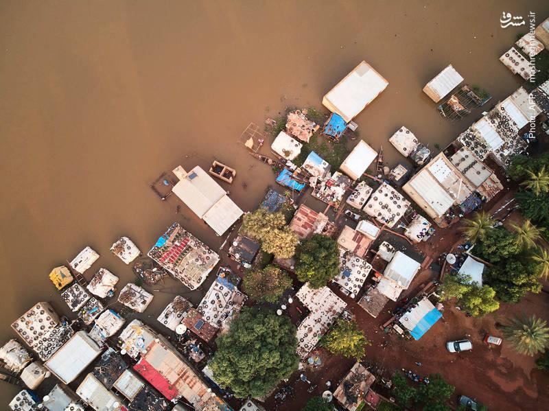 تصویر هوایی از طغیان رودخانه در پایتخت مالی، باماکو