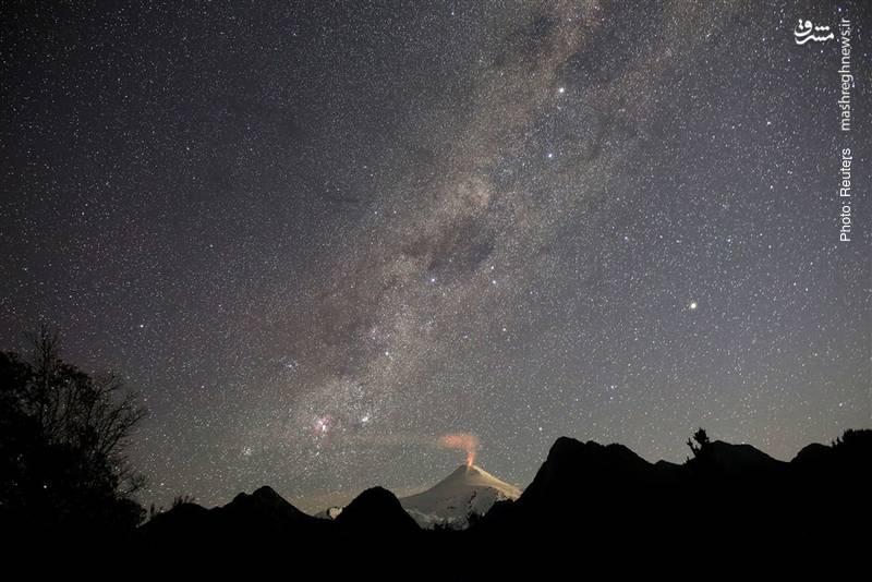 آتشفشان فعال ویلاریکا در شیلی
