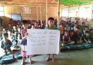 عکس/ همدردی کودکان میانمار با کوچکترین شهید اهواز