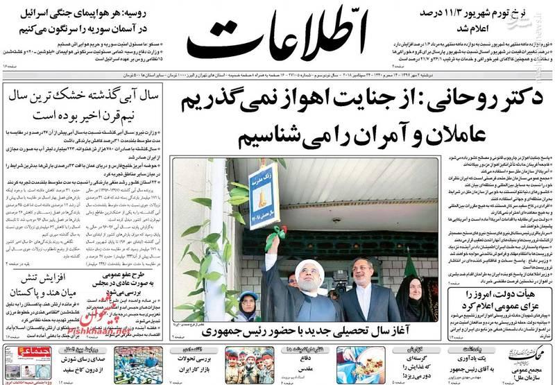 اطلاعات: دکتر روحانی: از جنایت اهواز نمیگذریم عاملان و آمران را میشناسیم