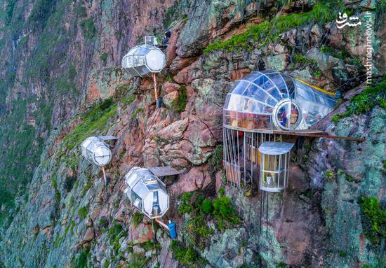 عکس/ برای رفتن به این هتل باید کوهنورد باشید
