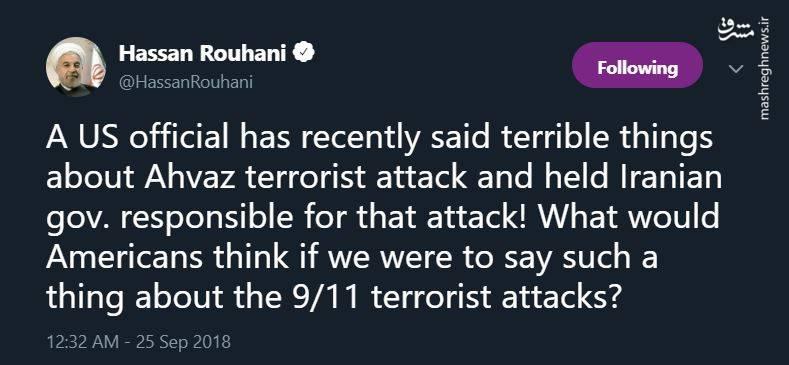 پاسخ روحانی به ادعای آمریکاییها درمورد حمله تروریستی اهواز