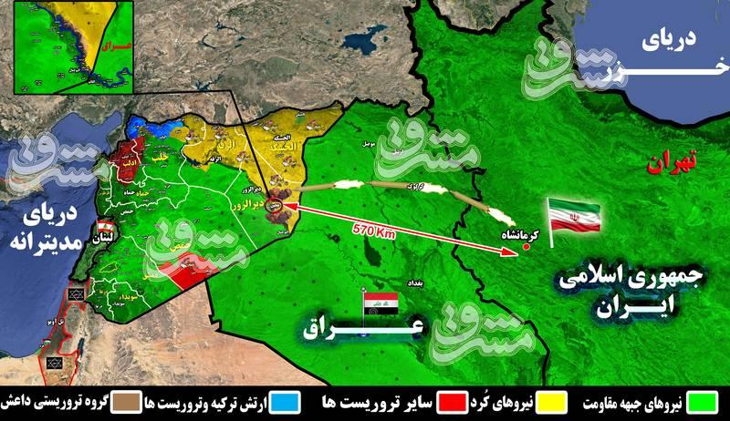 نقشه میدانی محل اصابت موشک های سپاه به سوریه