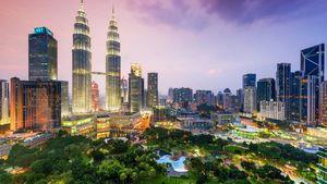 نمایی زیبا از برج های دوقلو در مالزی