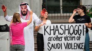 عکس/ تجمع مقابل سفارت عربستان در واشنگتن