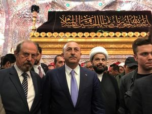 عکس/ حضور وزیر خارجه ترکیه در حرم حضرت علی(ع)