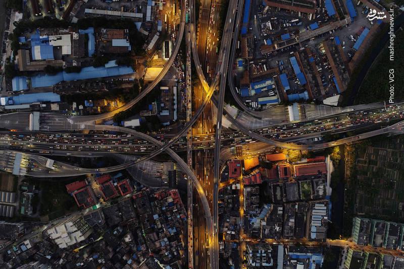 تصویر هوایی خاص از ترافیک تعطیلات چینی در گوانگژو