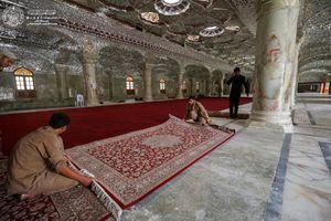 آماده سازی صحن حضرت زهرا(س) برای زائرین اربعین