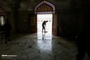 عکس/ آمادهسازی صحن حضرت فاطمه (س) برای زائران اربعین