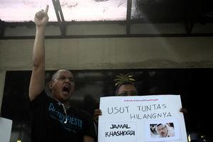 عکس/ تجمع اعتراضی خبرنگاران اندونزی مقابل سفارت عربستان