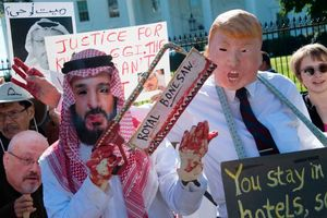 عکس/ اعتراض به قتل خاشقجی مقابل کاخ سفید