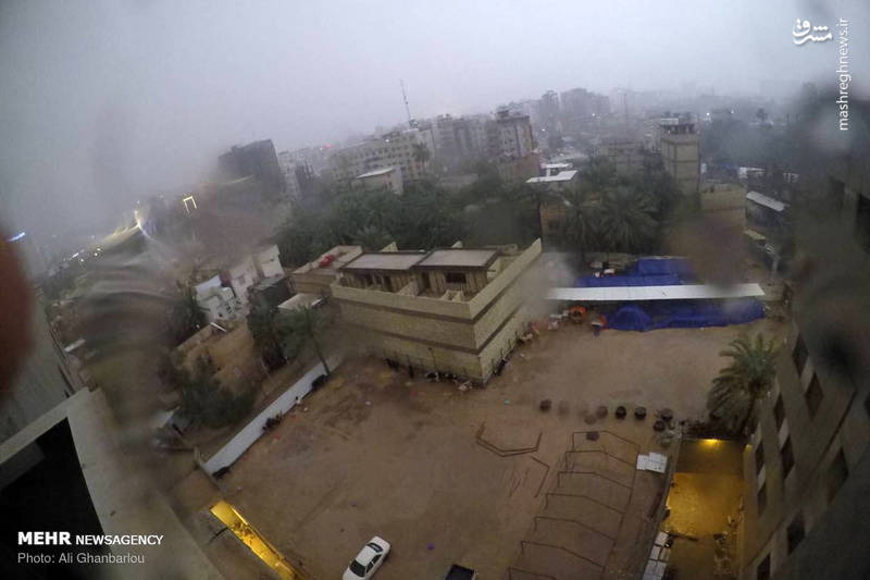 عکس/ بارش باران و آبگرفتگی خیابانهای کربلا