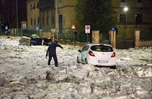 عکس/ بارش وحشتناک تگرگ در رم