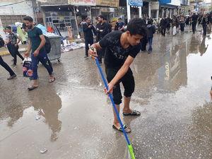 تداوم بارش باران در نجف و حذف گرد و غبار