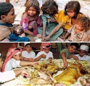 غذا خوردن کودکان یمنی و کودکان سعودی +عکس