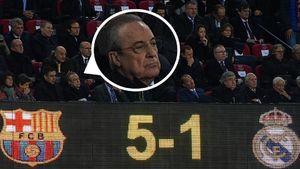 عکس/ چهره فلورنتینو پرس پس از گل پنجم بارسلونا