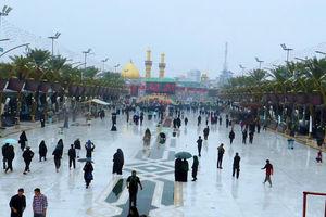 عکس/ صحن بارانی حرم سیدالشهدا(ع)