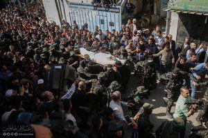 عکس/ تشییع باشکوه پیکر 7 مبارز شهید مقاومت فلسطین