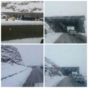 بارش سنگین برف در محور هراز، محدوده امامزاده هاشم و پلور