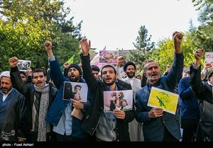 عکس/ تجمع طلاب مدرسه مروی در حمایت از مردم یمن