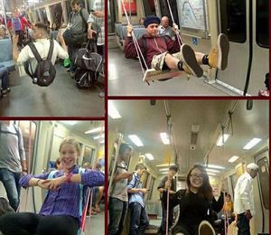 تاب بازی در مترو برای بالابردن سطح شادی مردم +عکس