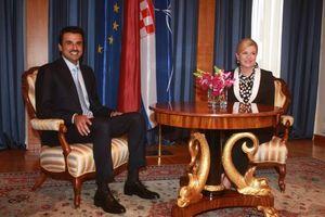 عکس/ دیدار امیر قطر با رئیس جمهور کرواسی