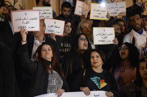 تجمع خشم تونسیها پیش از سفر بن سلمان