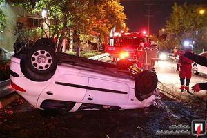 عکس/ واژگونی خودرو سواری در بزرگراه کردستان