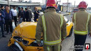تصادف خودروی لاکچری در تهران