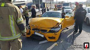 عکس/ تصادف خودروی لاکچری در تهران
