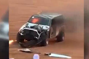 فیلم/ حادثه برای ماشین آفرود در صحرا!